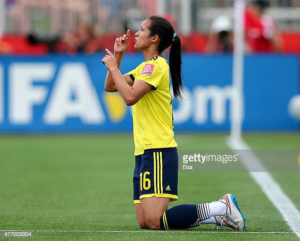 Lady Andrade of Colombia celebrates her goal in the first half against France during the FIFA Women's World Cup 2015 Group F match at Moncton Stadium...