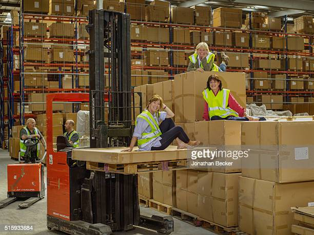 Lady Annabel Astor is photographed with OKA partners Sue Jones and Lucinda Waterhouse for Vanity Fair Magazine on June 20 2014 in the OKA warehouse...