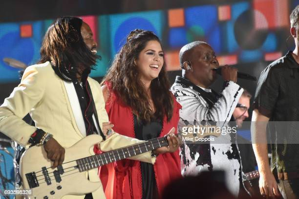 Lady Antebellum and Earth Wind Fire Verdine White Hillary Scott and Ralph Johnson perform onstage during the 2017 CMT Music Awards at the Music City...
