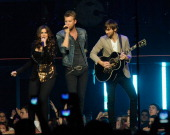 Lady Antebellum Hillary Scott Charles Kelley and Dave Haywood perform as part of Rebuilding Henryville With Lady Antebellum at the YUM Center on May...