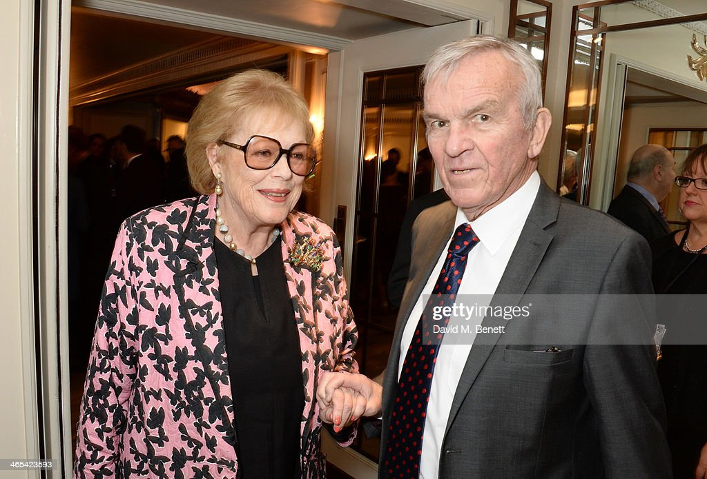 Lady Antonia Fraser (L) and Lord Matthew Evans attend a drinks reception at the South Bank Sky Arts awards at the Dorchester Hotel on January 27, 2014 in London, England.