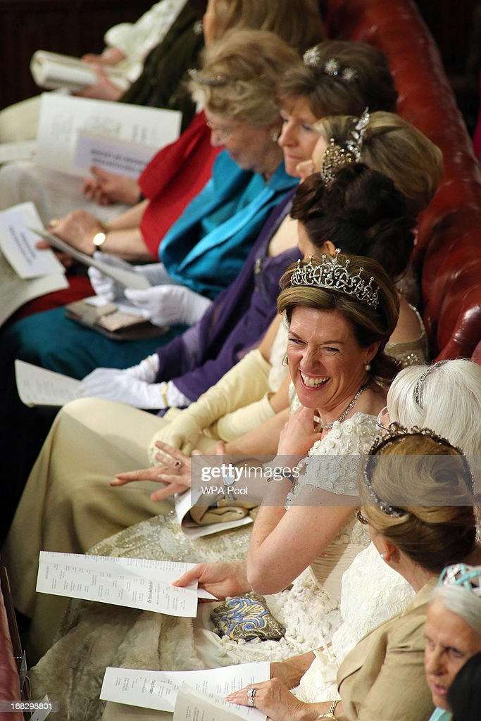 Lady Ashton of Hyde shares a joke prior to the State Opening of Parliament on May 8 2013 in London England Queen Elizabeth II unveiled the coalition...