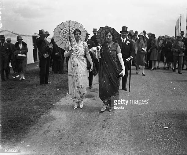 Lady Bomanji wife of Sir Dhunjibhoy Bomanji and Mrs Bolton attend second day of the the races at Royal Ascot Berkshire England 20th June 1928 Sir...