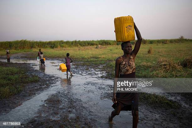 A lady carries a jerry can of river water through marshland in Minkamen in Awerial county South Sudan on January 10 2014 According to the latest...