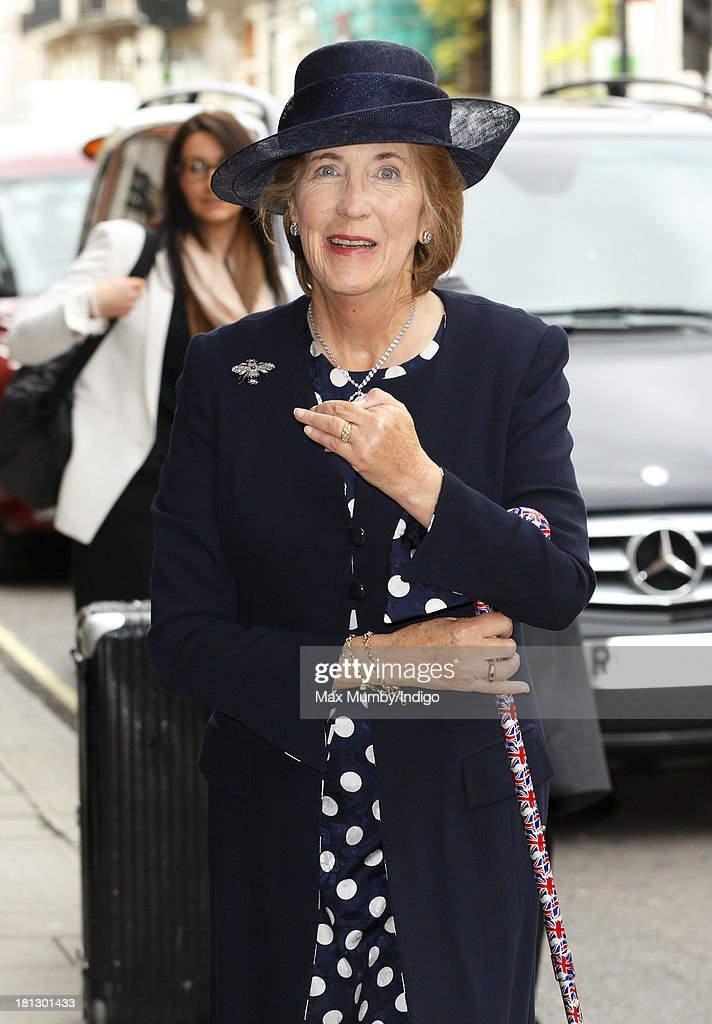 Lady Celia Vestey arrives at Claridges Hotel to attend the wedding reception for Alexander Fellowes and Alexandra Finlay following their wedding ceremony at the Chapel of St Mary Undercroft in the Palace of Westminster on September 20, 2013 in London, England.