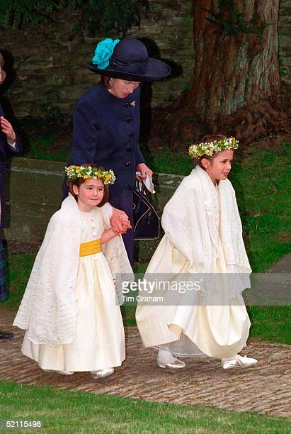 Lady Celia Vestey At The Wedding Of The Hon Saffron Vestey And Mr Matthew Charles Idiens At St Andrew's Church Chedworth With The Bridesmaids Hannah...