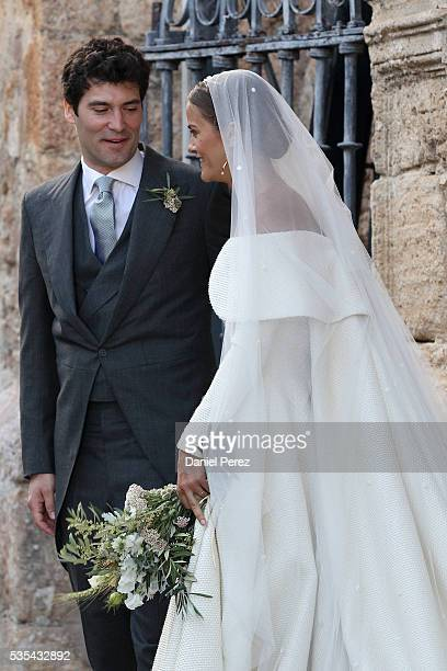 Lady Charlotte Wellesley and Alejandro Santo Domingo are seen outside of the church after marrying at Illora on May 28 2016 in Granada Spain