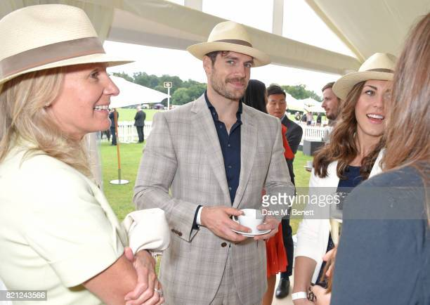 Lady Cowdray Henry Cavill and Lucy Cork attend the JaegerLeCoultre Gold Cup Polo Final at Cowdray Park on July 23 2017 in Midhurst England