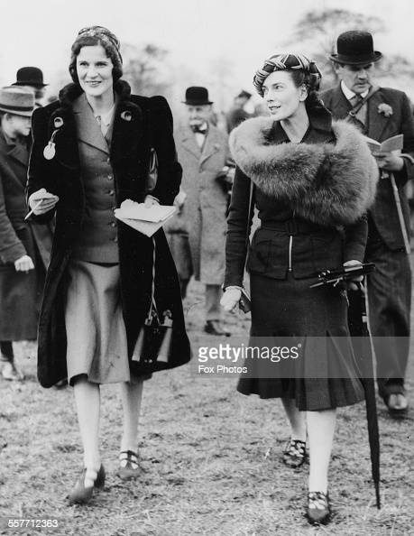 Lady Daphne Weymouth and Lady Sybil Phipps at the National Hunt Meeting at Cheltenham England March 13th 1940
