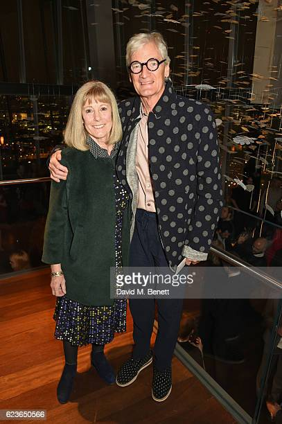 Lady Deirdre Dyson and Sir James Dyson attend the Christmas Installation unveiling by Sir David Attenborough at Aqua Shard on November 16 2016 in...