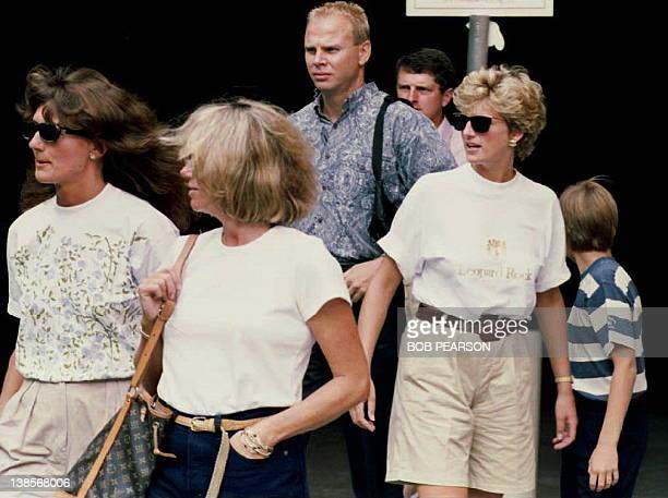 Lady Diana Princess of Wales and family friends Catherine Soames and Kate Menzies leave the Jim Henson Muppets Pavilion 25 August 1993 during a visit...