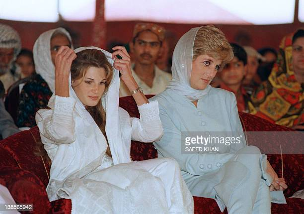 Lady Diana Princess of Wales and Jemima Khan wife of Pakistani cricketer Imran Khan attend a variety show 22 February 1996 in Lahore Lady Diana is on...