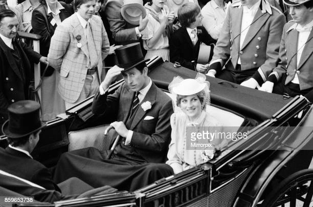 Lady Diana Spencer and her husband to be The Prince of Wales Prince Charles enjoy the day at the last day of Royal Ascot Ascot 1981 was Lady Diana...