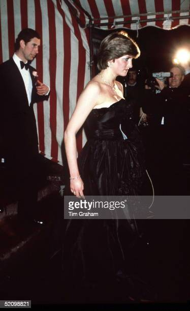 Lady Diana Spencer And Prince Charles At Goldsmiths Hall In London In March 1981 On Their First Evening Outing In Public Black Taffeta Evening Dress...