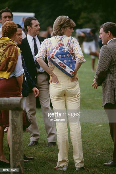 Lady Diana Spencer at Cowdray Park Polo Club in Gloucestershire 12th July 1981 On the left is Sarah Ferguson