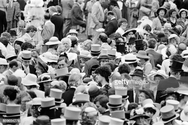 Lady Diana Spencer centre of picture in the ribbon hat obscured with her eyes and nose just showing enjoys the day with some friends on the last day...