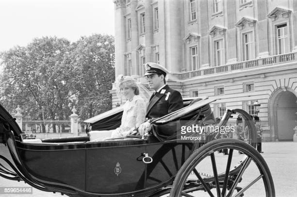 Lady Diana Spencer joins Prince Andrew in the carriage as they leave Buckingham Palace for her Diana's first ever Trooping of The Colour On this...