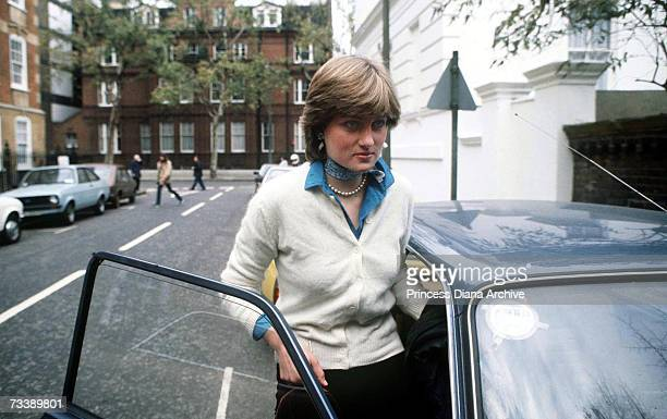 Lady Diana Spencer outside her flat in Coleherne Court London before her engagement to the Prince of Wales December 1980
