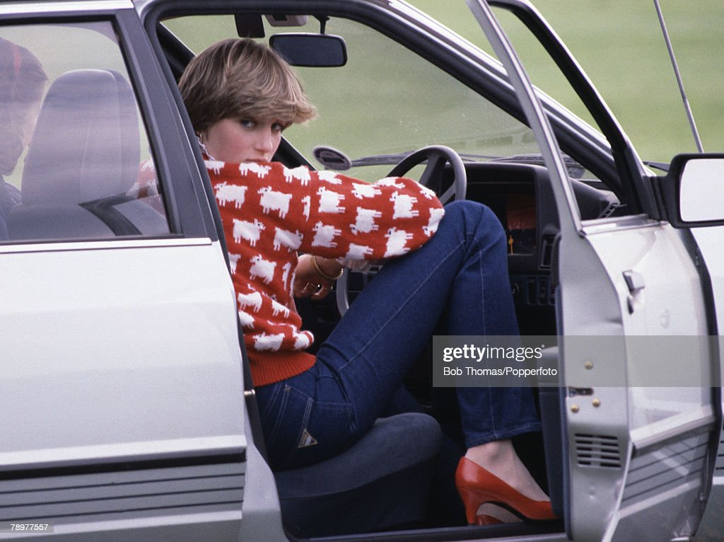 British Royalty, Smiths Lawn, Windsor, England, June 1981, Lady Diana Spencer sits in her car while attending the polo