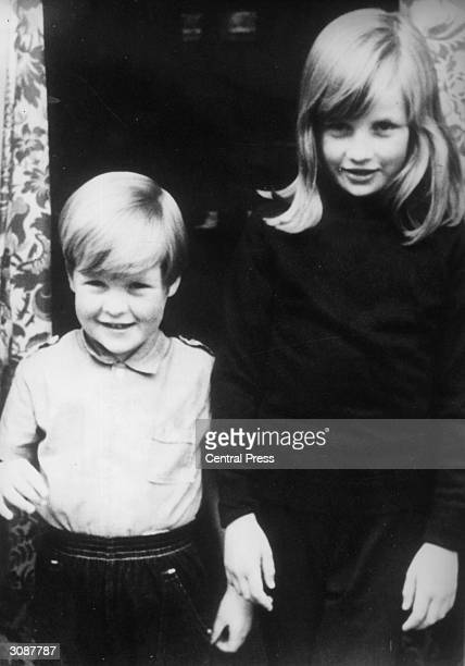 Lady Diana Spencer with her brother Charles Viscount Althorp at their home in Berkshire