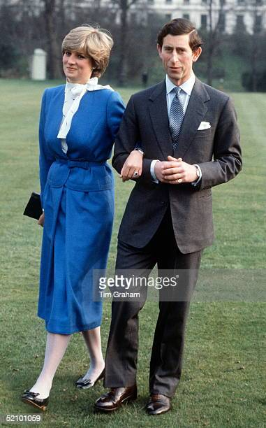 Lady Diana Spencer With Prince Charles In The Gardens Of Buckingham Palace On The Day They Announced Their Engagement Dress Reported As Designed By...