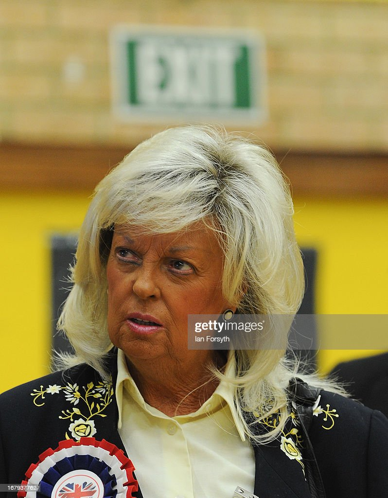 Lady Dorothy MacBeth Brookes from the British National Party attends the count for the byelection on May 2, 2013 in South Shields, England. The byelection was triggered after the former Foreign Secretary David Miliband announced recently that he was resigning from the House of Commons in order to leave Britain and head up the New York based International Rescue Committee humanitarian organisation.