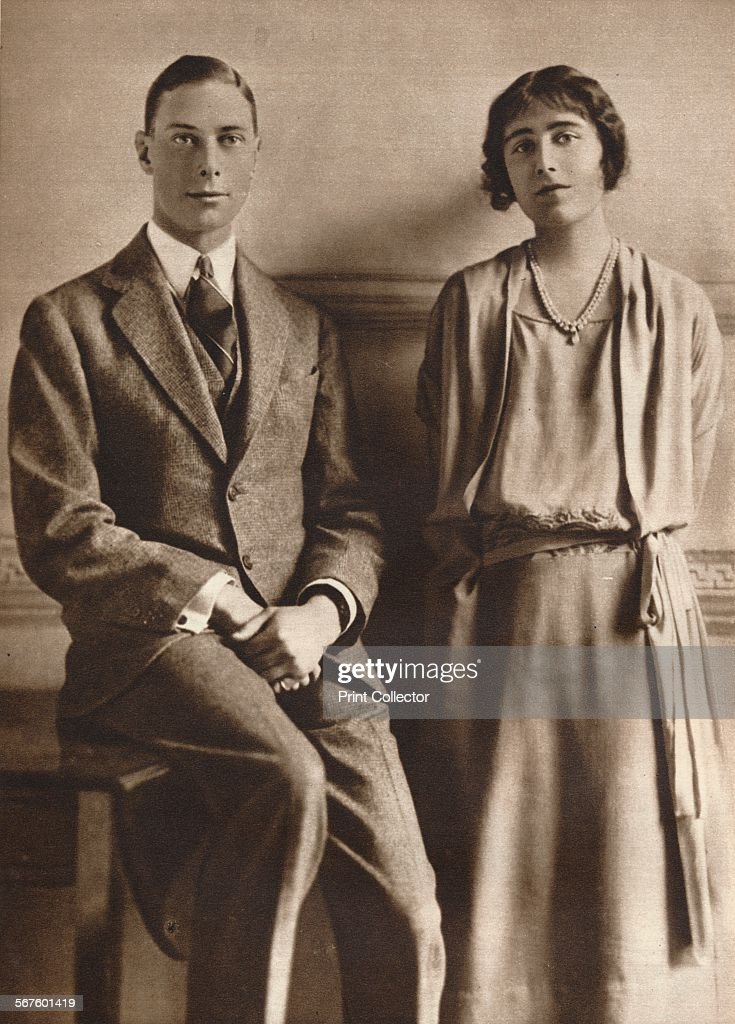 'Lady Elizabeth Bowes Lyon and the Duke of York upon the announcement of their engagement', 1923. From Our King & Queen and the Royal Princesses. [Odhams Press Ltd., London, 1937].