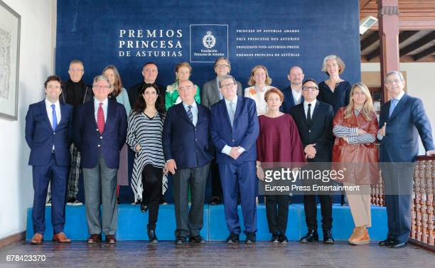 Lady Foster Elena Ochoa and Blanca Li attend the deliberate meeting for 2014 Prince of Asturias Award for the Arts on May 3 2017 in Asturias Spain