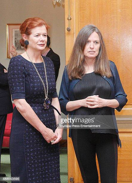 Lady Foster Elena Ochoa and Ouka Lele attend the deliberate meeting for 2014 Prince of Asturias Award for the Arts on May 6 2014 in Asturias Spain