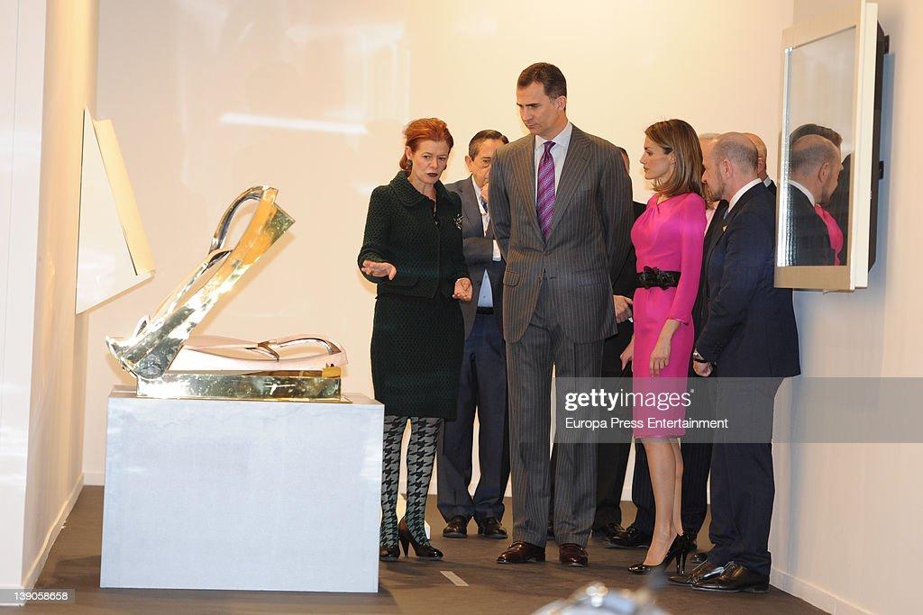 lady foster elena ochoa prince felipe and princess letizia attend the of arco art