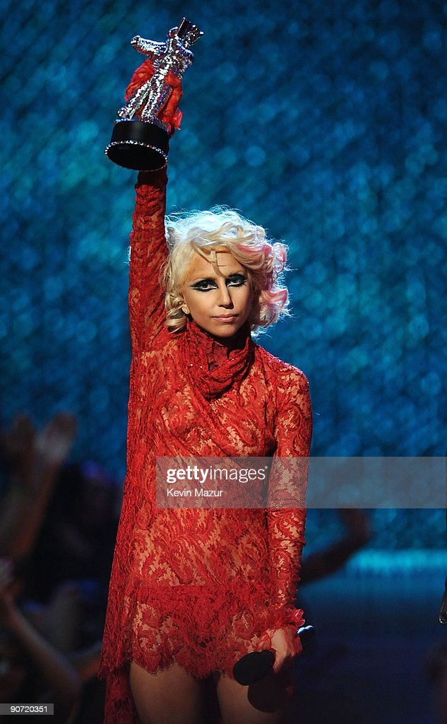 Lady Gaga accepts an award onstage during the 2009 MTV Video Music Awards at Radio City Music Hall on September 13, 2009 in New York City.