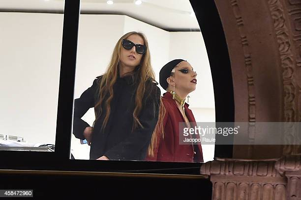 Lady Gaga and Allegra Versace are seen inside Versace Store on November 5 2014 in Milan Italy