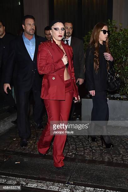 Lady Gaga and Allegra Versace are seen leaving Park Hyatt Hotel on November 5 2014 in Milan Italy