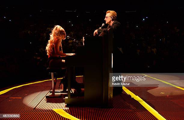 Lady Gaga and Bono perform 'Ordinary Love' onstage during U2's 'iNNOCENCE eXPERIENCE' tour at Madison Square Garden on July 26 2015 in New York City