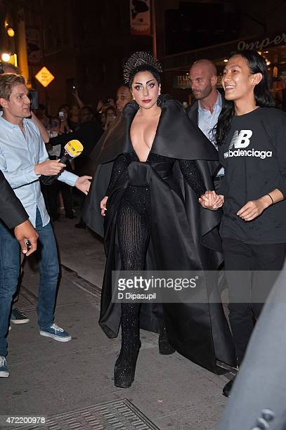 Lady Gaga and designer Alexander Wang are seen arriving at the Diamond Horseshoe on May 4 2015 in New York City