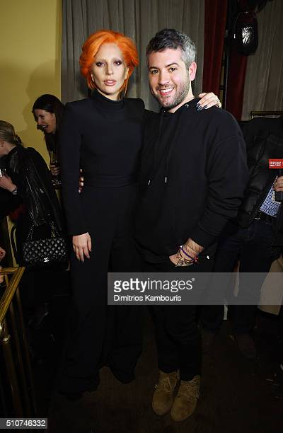 Lady Gaga and designer Brandon Maxwell attend the after party for the Brandon Maxwell A/W 2016 fashion show during New York Fashion Week at The...