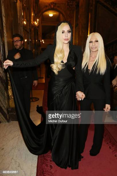 Lady Gaga and Donatella Versace attend the Atelier Versace show as part of Paris Fashion Week Haute Couture Spring/Summer 2014 on January 19 2014 in...