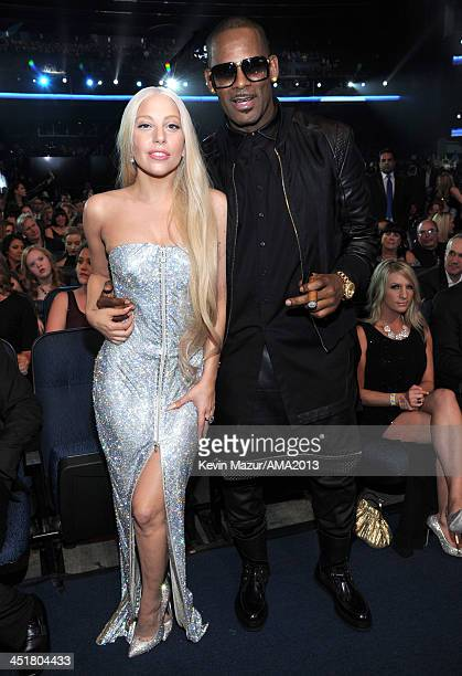 Lady Gaga and R Kelly attend 2013 American Music Awards at Nokia Theatre LA Live on November 24 2013 in Los Angeles California