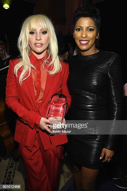 Lady Gaga and Tamron Hall attend Billboard Women In Music 2015 on Lifetime at Cipriani 42nd Street on December 11 2015 in New York City