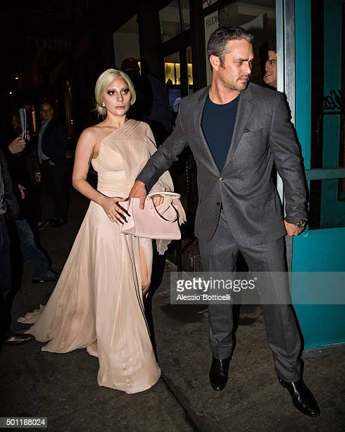 Lady Gaga and Taylor Kinney are seen in SoHo on December 12 2015 in New York City