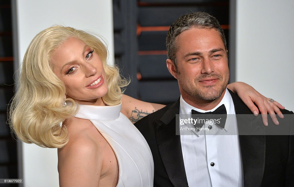 Lady Gaga and Taylor Kinney attend the 2016 Vanity Fair Oscar Party hosted By Graydon Carter at Wallis Annenberg Center for the Performing Arts on...