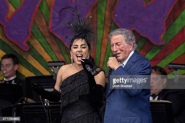 Lady Gaga and Tony Bennett perform at the New Orleans Jazz Heritage Festival at the Fair Grounds Race Course on April 26 2015 in New Orleans Louisiana