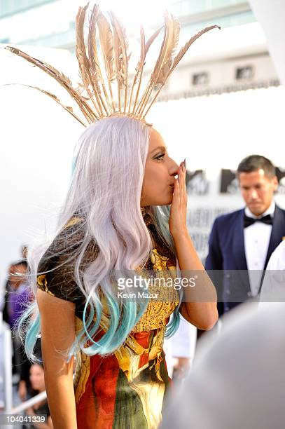 Lady Gaga arrives at the 2010 MTV Video Music Awards held at Nokia Theatre LA Live on September 12 2010 in Los Angeles California