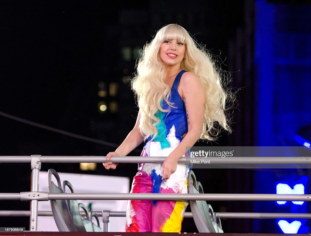 <a gi-track='captionPersonalityLinkClicked' href=/galleries/search?phrase=Lady+Gaga&family=editorial&specificpeople=4456754 ng-click='$event.stopPropagation()'>Lady Gaga</a> arrives at the H&M Times Square grand opening on November 13, 2013 in New York City.