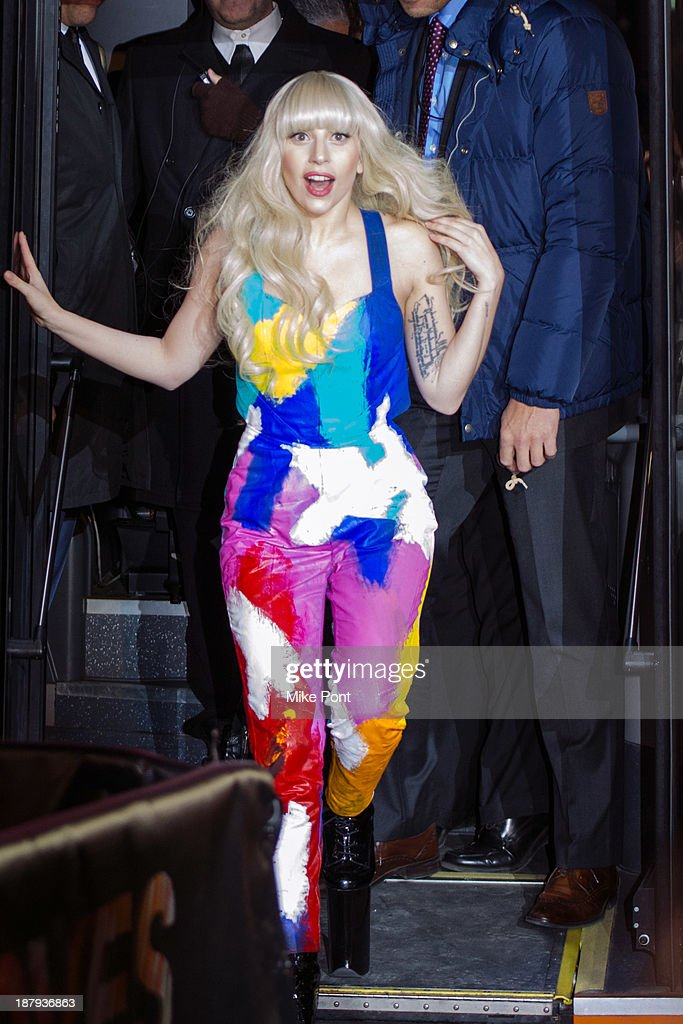 Lady Gaga arrives at the H&M Times Square grand opening on November 13, 2013 in New York City.