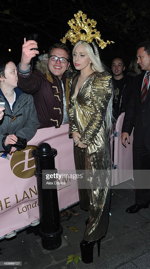 <a gi-track='captionPersonalityLinkClicked' href=/galleries/search?phrase=Lady+Gaga&family=editorial&specificpeople=4456754 ng-click='$event.stopPropagation()'>Lady Gaga</a> arrives back at Langham hotel after recording Alan Carr show at the ITV studios waterloo sighting on December 4, 2013 in London, England.