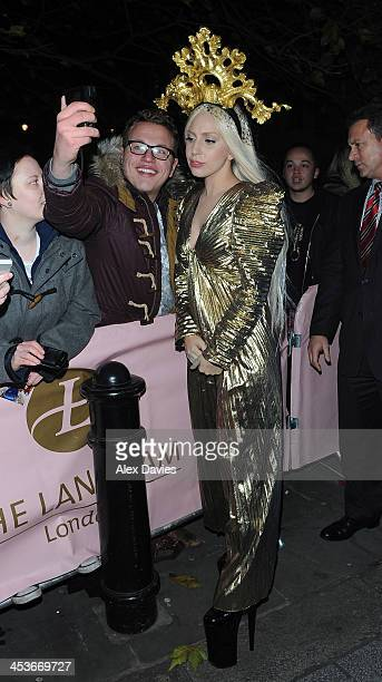 Lady Gaga arrives back at Langham hotel after recording Alan Carr show at the ITV studios waterloo sighting on December 4 2013 in London England