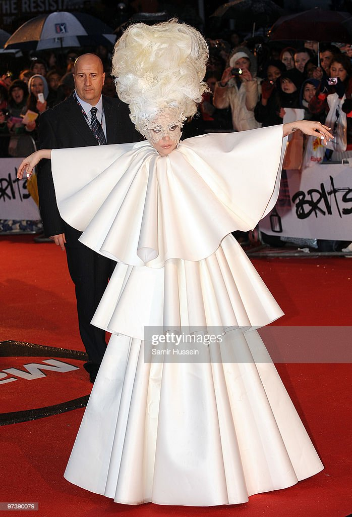 Lady Gaga arrives for the BRIT Awards 2010 on February 16, 2010 at Earls Court in London, England.