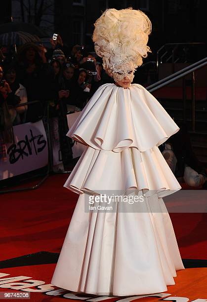 Lady Gaga arrives on the red carpet for The Brit Awards 2010 at Earls Court on February 16 2010 in London England