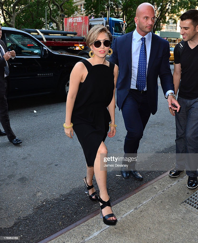 <a gi-track='captionPersonalityLinkClicked' href=/galleries/search?phrase=Lady+Gaga&family=editorial&specificpeople=4456754 ng-click='$event.stopPropagation()'>Lady Gaga</a> arrives to the 'Elvis Duran and the Z100 Morning Show' at Z100 Studio on August 19, 2013 in New York City.